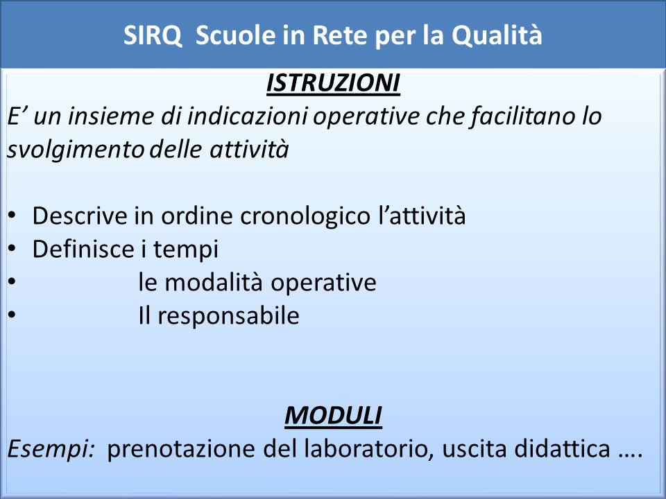 SIRQ Scuole in Rete per la Qualità Tenuta sotto controllo delle REGISTRAZIONI - Registrazione : documento compilato e conservato come evidenza delle attività.