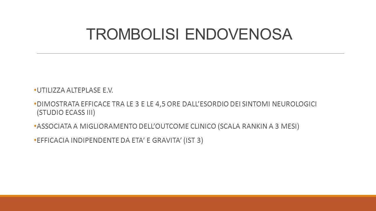 TROMBOLISI ENDOVENOSA UTILIZZA ALTEPLASE E.V. DIMOSTRATA EFFICACE TRA LE 3 E LE 4,5 ORE DALL'ESORDIO DEI SINTOMI NEUROLOGICI (STUDIO ECASS III) ASSOCI