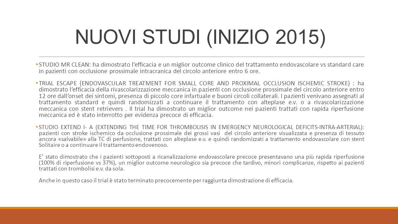 NUOVI STUDI (INIZIO 2015) STUDIO MR CLEAN: ha dimostrato l'efficacia e un miglior outcome clinico del trattamento endovascolare vs standard care in pa