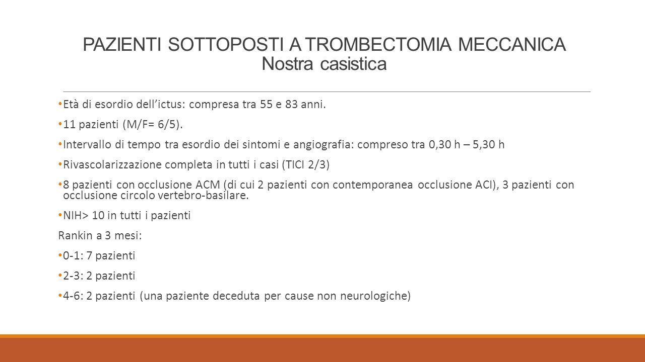 PAZIENTI SOTTOPOSTI A TROMBECTOMIA MECCANICA Nostra casistica Età di esordio dell'ictus: compresa tra 55 e 83 anni. 11 pazienti (M/F= 6/5). Intervallo