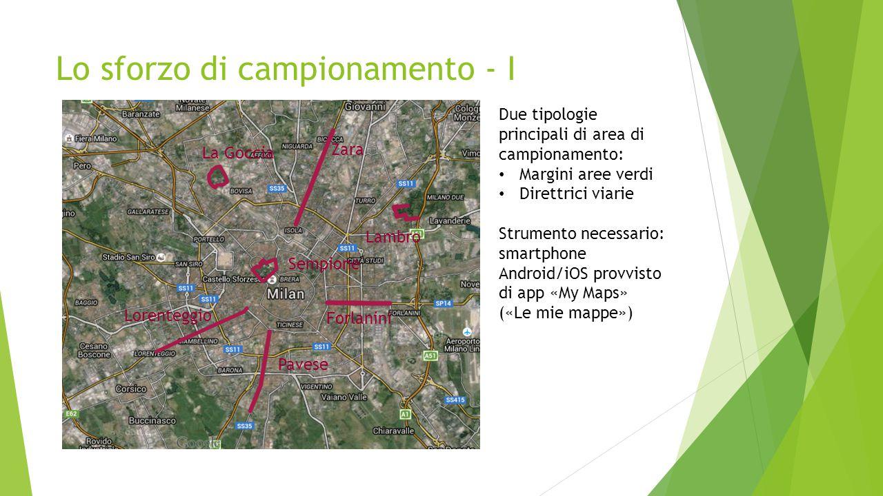 Lo sforzo di campionamento - I Due tipologie principali di area di campionamento: Margini aree verdi Direttrici viarie Strumento necessario: smartphon