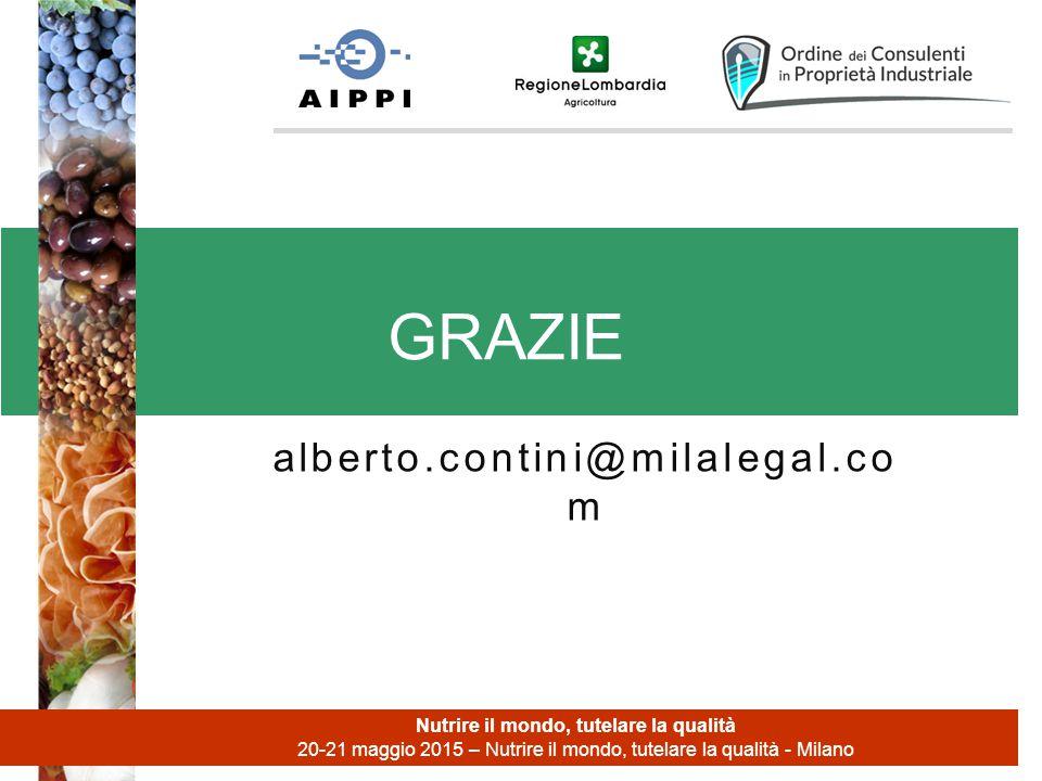 alberto.contini@milalegal.co m GRAZIE Nutrire il mondo, tutelare la qualità 20-21 maggio 2015 – Nutrire il mondo, tutelare la qualità - Milano