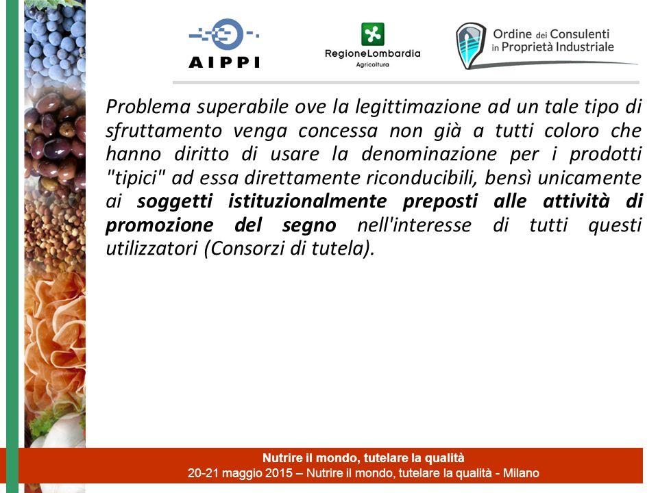 Nutrire il mondo, tutelare la qualità 20-21 maggio 2015 – Nutrire il mondo, tutelare la qualità - Milano Problema superabile ove la legittimazione ad