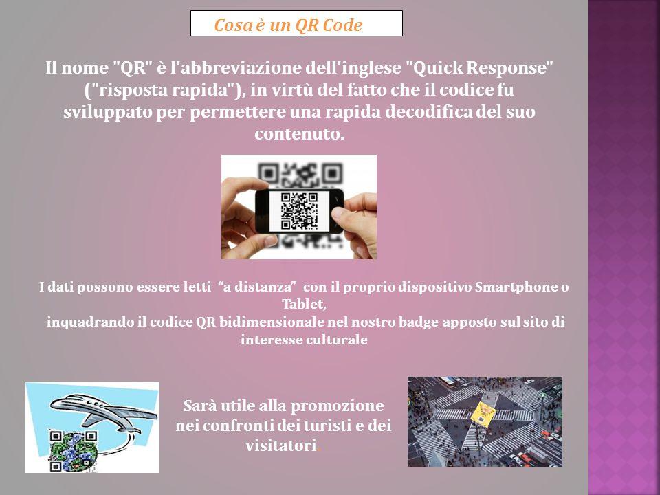 Cosa è un QR Code Il nome QR è l abbreviazione dell inglese Quick Response ( risposta rapida ), in virtù del fatto che il codice fu sviluppato per permettere una rapida decodifica del suo contenuto.