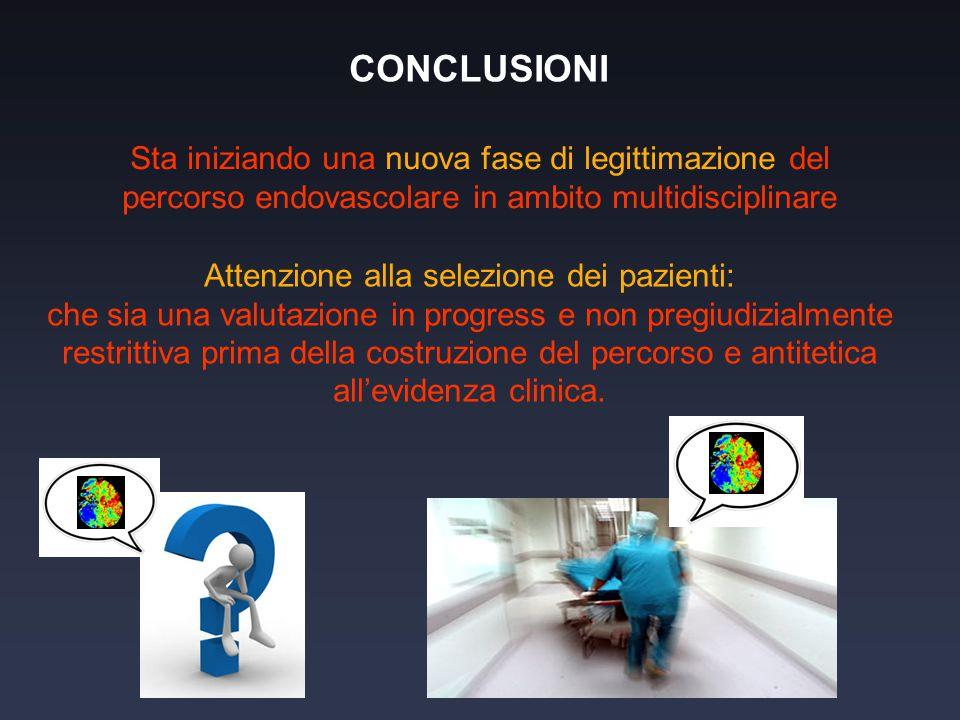 CONCLUSIONI Sta iniziando una nuova fase di legittimazione del percorso endovascolare in ambito multidisciplinare Attenzione alla selezione dei pazien