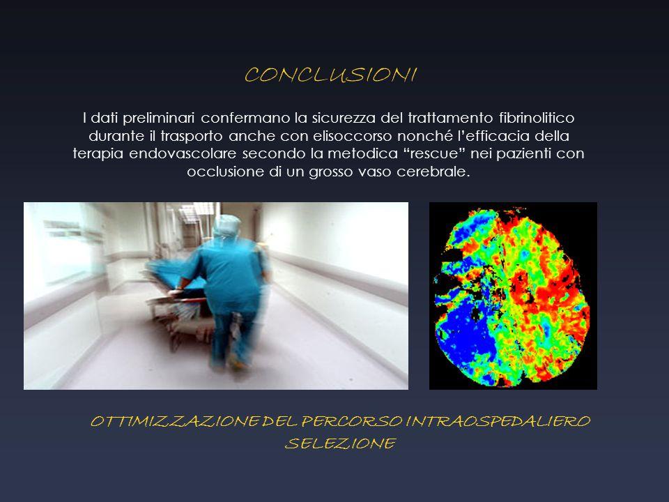 OTTIMIZZAZIONE DEL PERCORSO INTRAOSPEDALIERO SELEZIONE CONCLUSIONI I dati preliminari confermano la sicurezza del trattamento fibrinolitico durante il