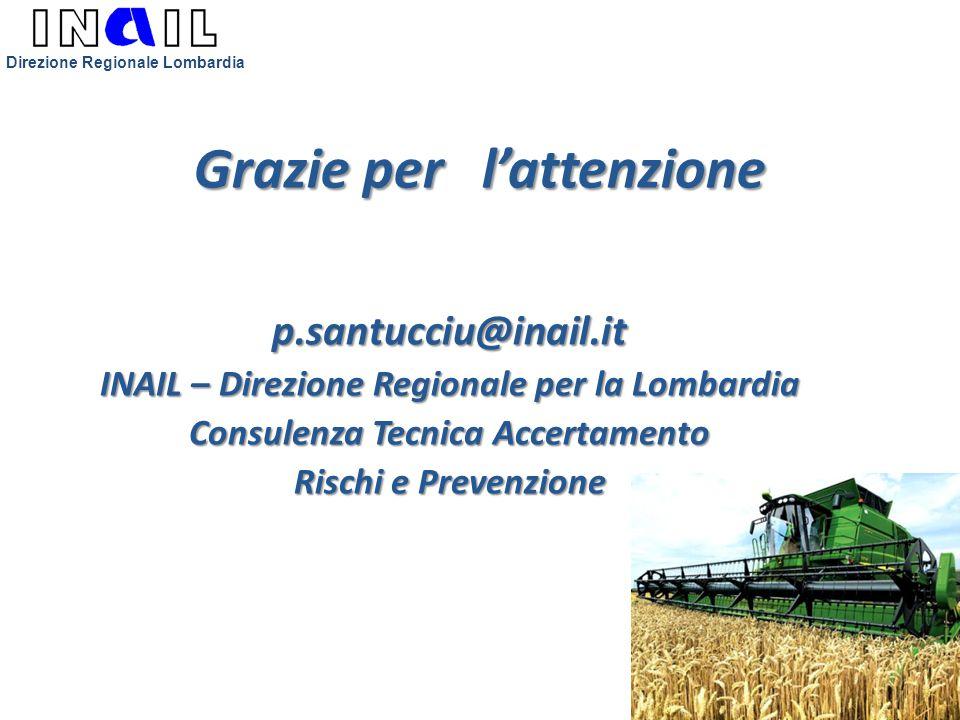 Grazie per l'attenzione p.santucciu@inail.it INAIL – Direzione Regionale per la Lombardia Consulenza Tecnica Accertamento Rischi e Prevenzione Direzio