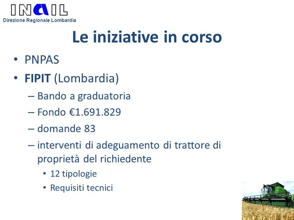Le iniziative in corso PNPAS FIPIT (Lombardia) – Bando a graduatoria – Fondo €1.691.829 – domande 83 – interventi di adeguamento di trattore di propri