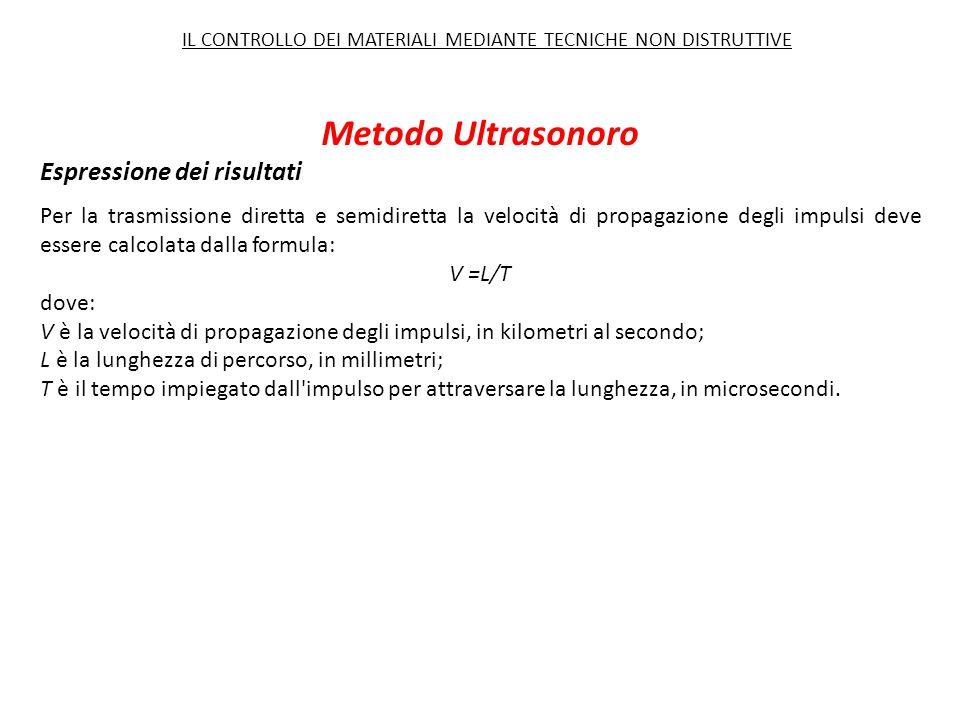 Metodo Ultrasonoro Per la trasmissione diretta e semidiretta la velocità di propagazione degli impulsi deve essere calcolata dalla formula: V =L/T dov