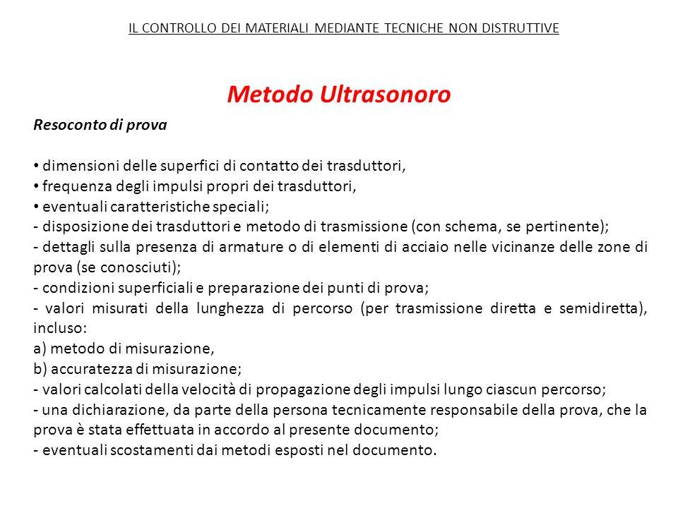 Metodo Ultrasonoro Resoconto di prova dimensioni delle superfici di contatto dei trasduttori, frequenza degli impulsi propri dei trasduttori, eventual