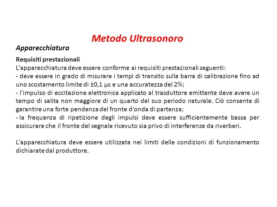 Metodo Ultrasonoro Apparecchiatura Requisiti prestazionali L'apparecchiatura deve essere conforme ai requisiti prestazionali seguenti: - deve essere i