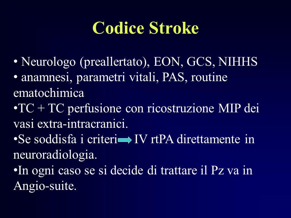 Codice Stroke Neurologo (preallertato), EON, GCS, NIHHS anamnesi, parametri vitali, PAS, routine ematochimica TC + TC perfusione con ricostruzione MIP