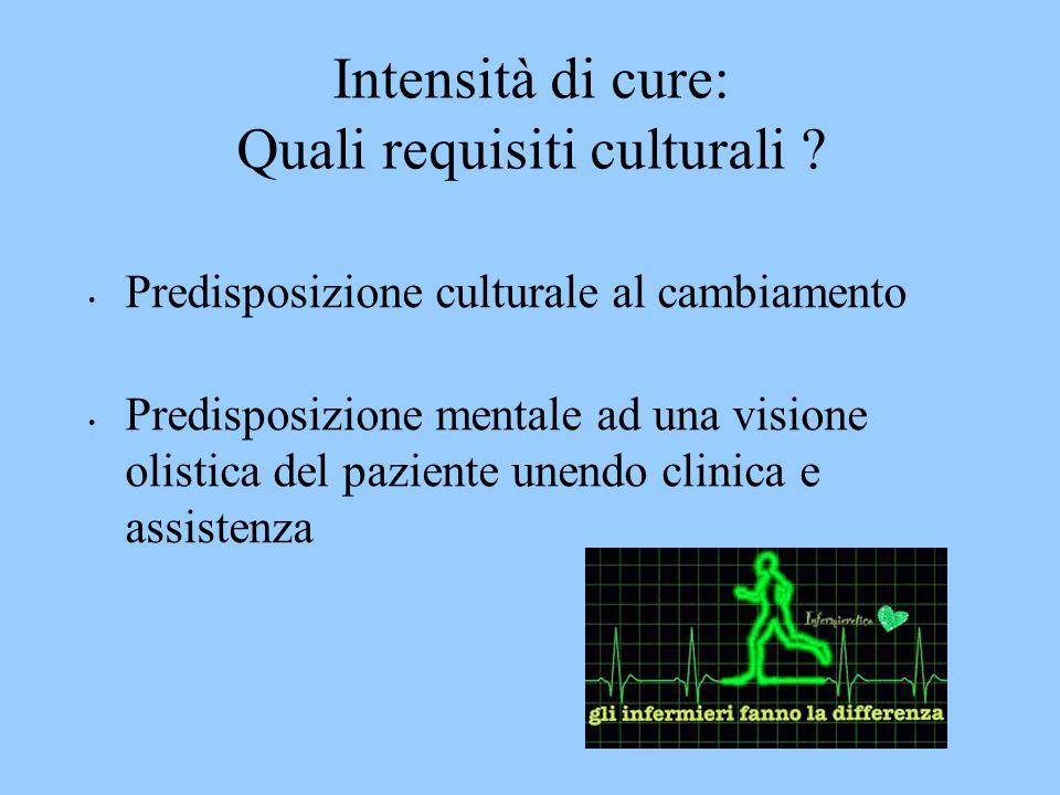 Intensità di cure: Quali requisiti culturali ? Predisposizione culturale al cambiamento Predisposizione mentale ad una visione olistica del paziente u