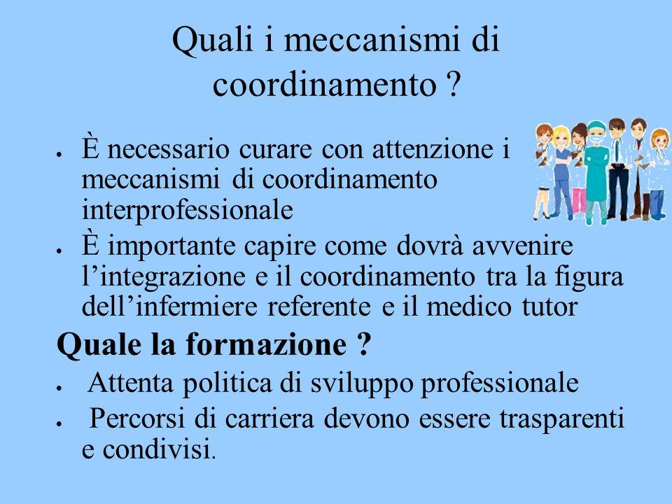 Quali i meccanismi di coordinamento ?  È necessario curare con attenzione i meccanismi di coordinamento interprofessionale  È importante capire come
