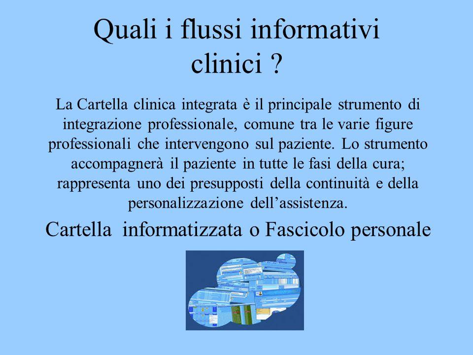 Quali i flussi informativi clinici ? La Cartella clinica integrata è il principale strumento di integrazione professionale, comune tra le varie figure