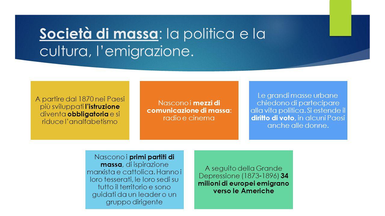Società di massa : la politica e la cultura, l'emigrazione. A partire dal 1870 nei Paesi più sviluppati l'istruzione diventa obbligatoria e si riduce