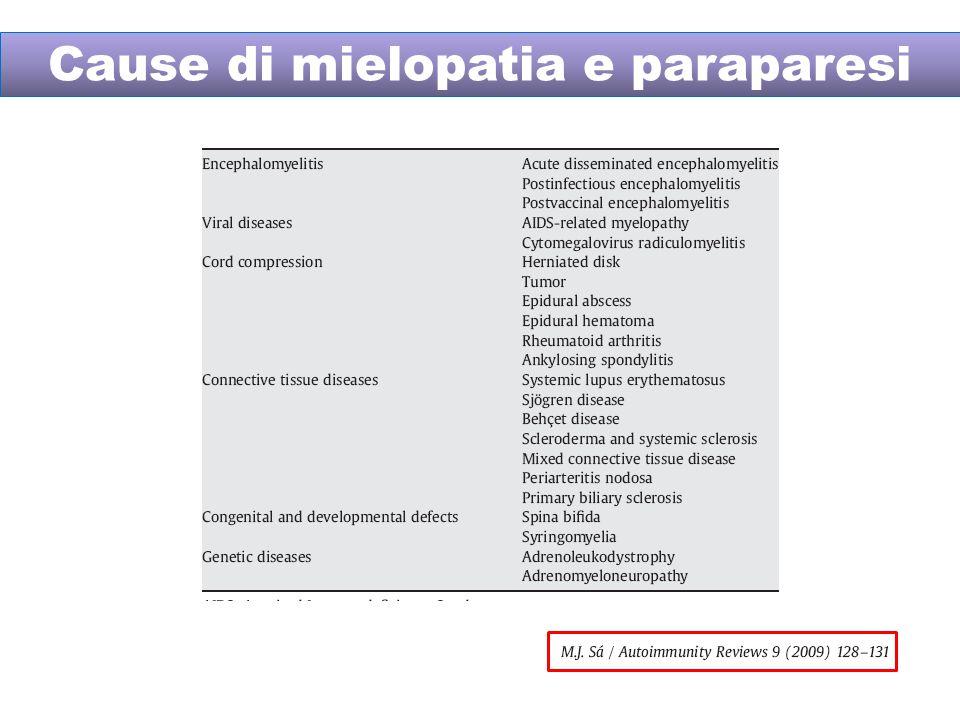 Cause di mielopatia e paraparesi