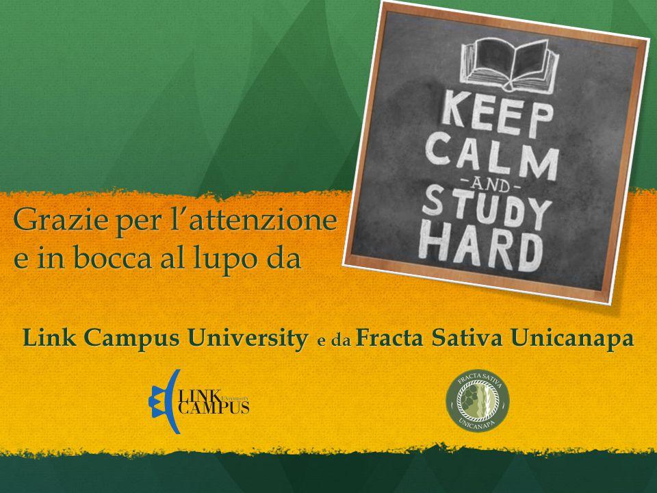 Link Campus University e da Fracta Sativa Unicanapa Grazie per l'attenzione e in bocca al lupo da