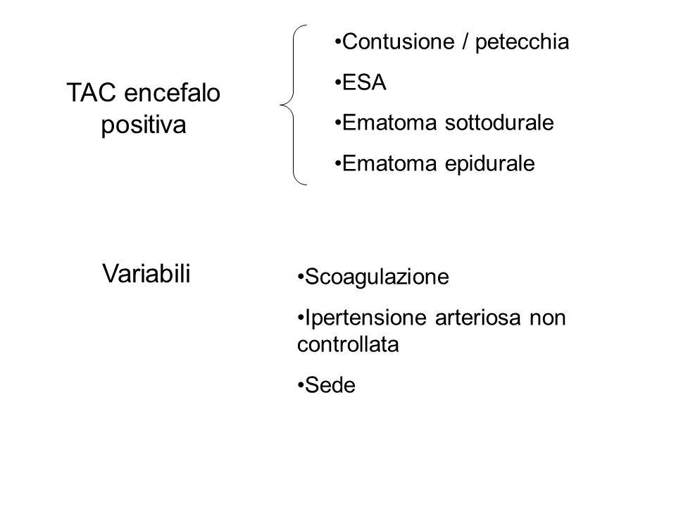 TAC encefalo positiva Contusione / petecchia ESA Ematoma sottodurale Ematoma epidurale Variabili Scoagulazione Ipertensione arteriosa non controllata