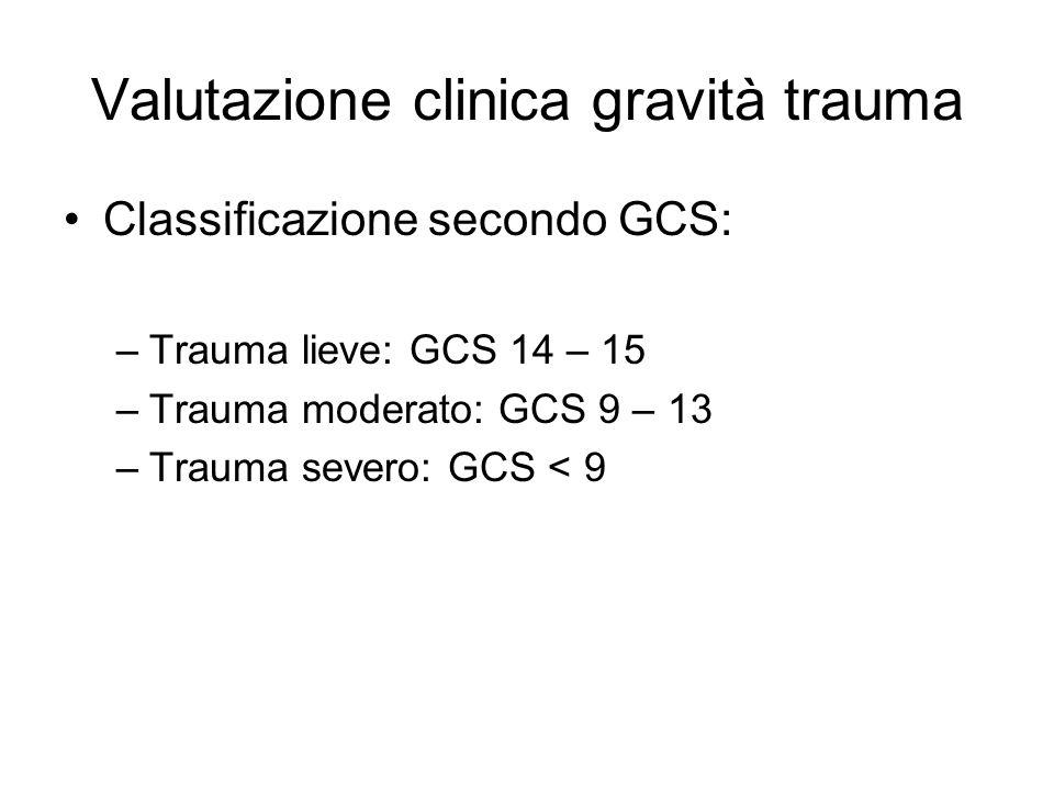 Valutazione clinica gravità trauma Classificazione secondo GCS: –Trauma lieve: GCS 14 – 15 –Trauma moderato: GCS 9 – 13 –Trauma severo: GCS < 9