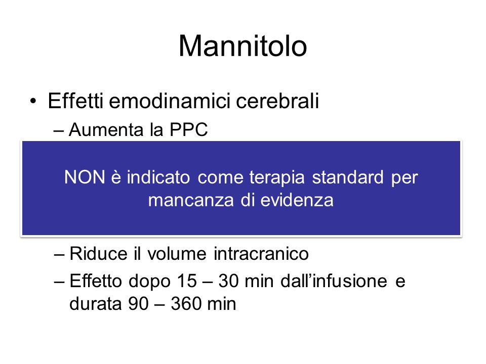 Mannitolo Effetti emodinamici cerebrali –Aumenta la PPC –Aumenta il flusso ematico cerebrale –Riduce la PIC Effetto osmotico –Riduce il volume intracr