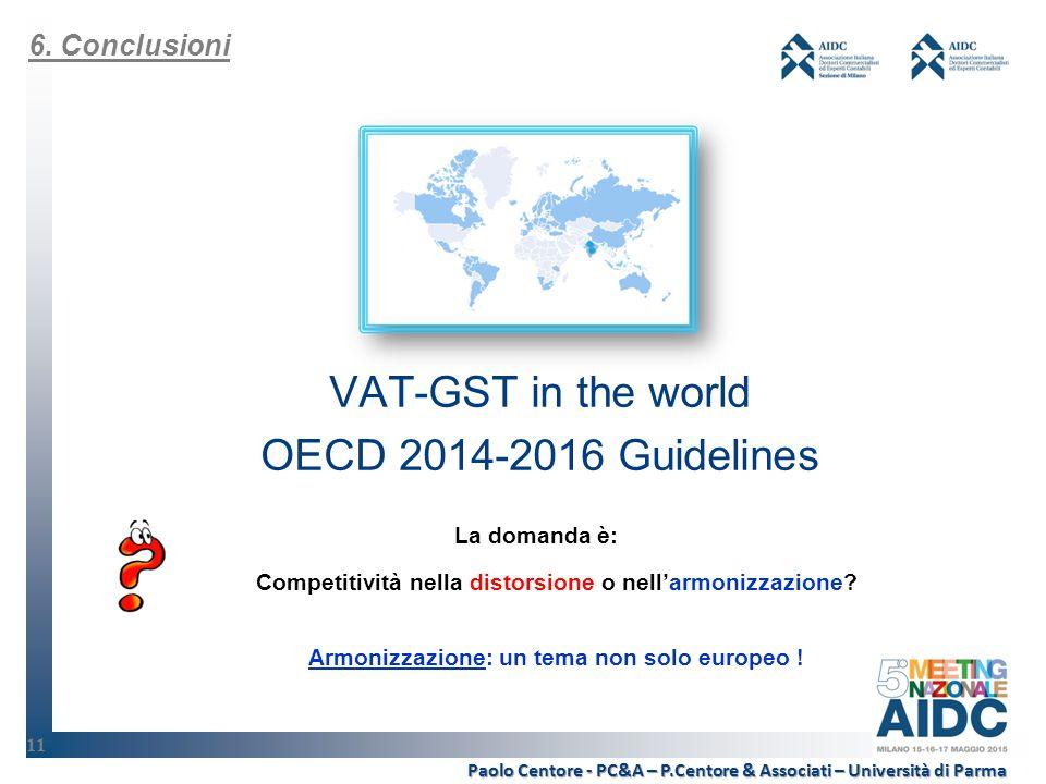VAT-GST in the world OECD 2014-2016 Guidelines Armonizzazione: un tema non solo europeo .