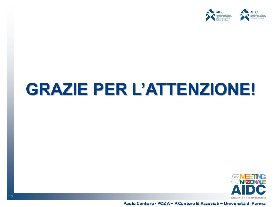 12 Paolo Centore - PC&A – P.Centore & Associati – Università di Parma GRAZIE PER L'ATTENZIONE! 12