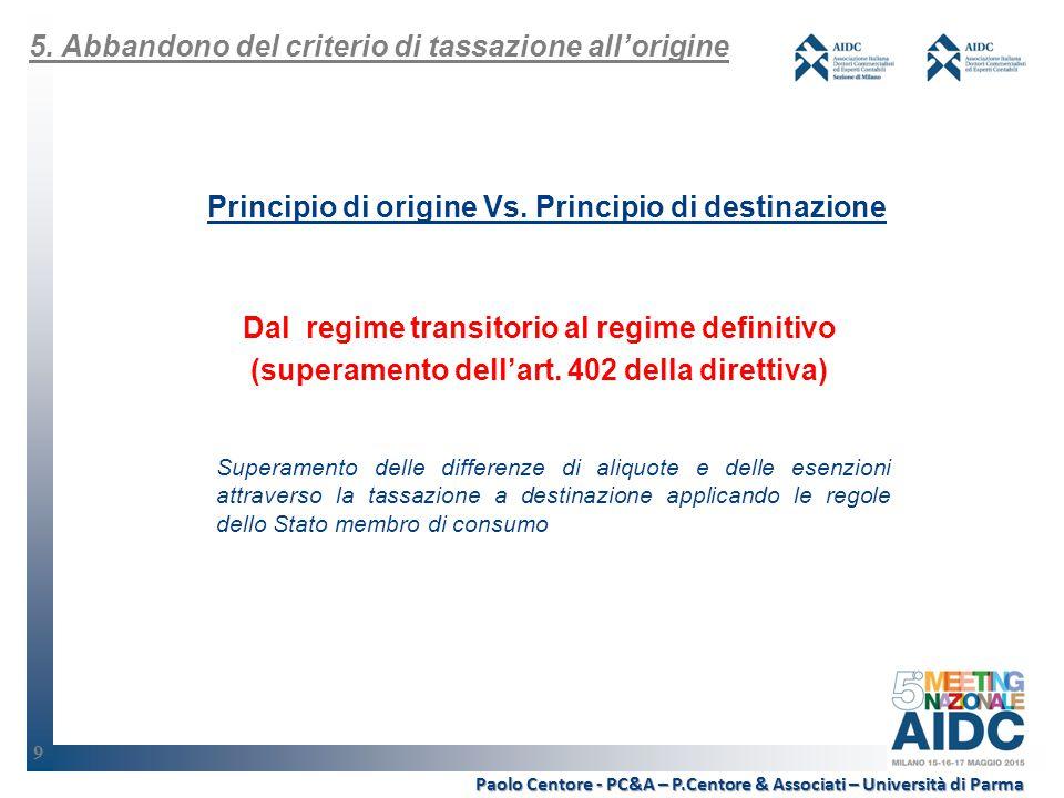 9 Principio di origine Vs.