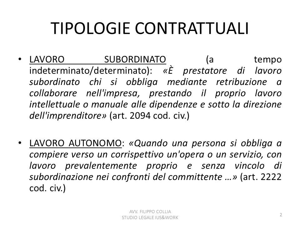 TIPOLOGIE CONTRATTUALI LAVORO SUBORDINATO (a tempo indeterminato/determinato): «È prestatore di lavoro subordinato chi si obbliga mediante retribuzion