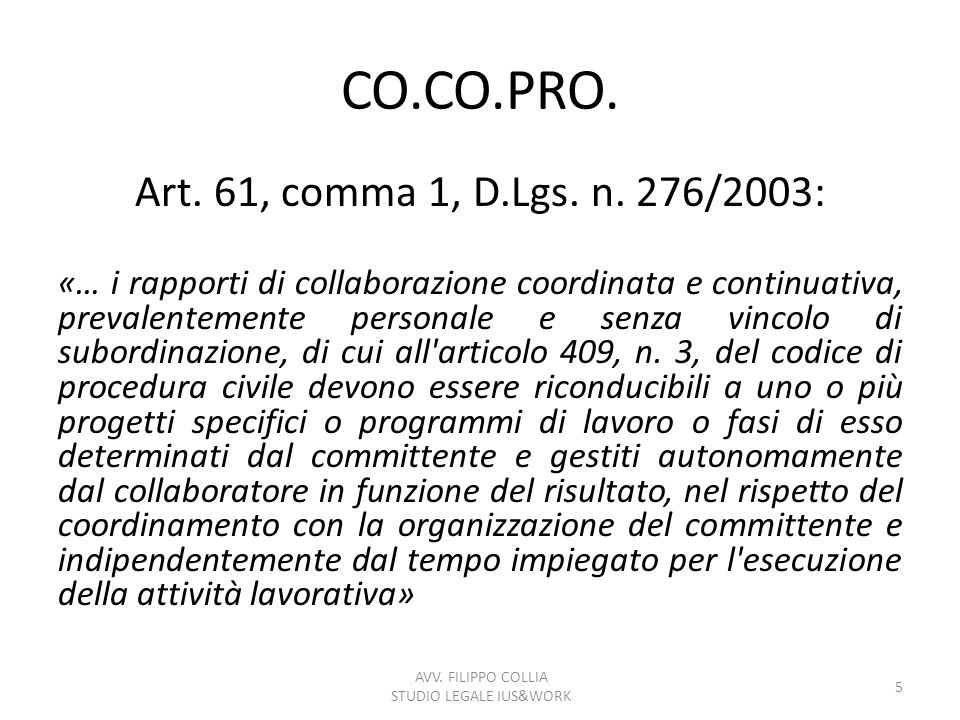 CO.CO.PRO.Art. 61, comma 1, D.Lgs. n.