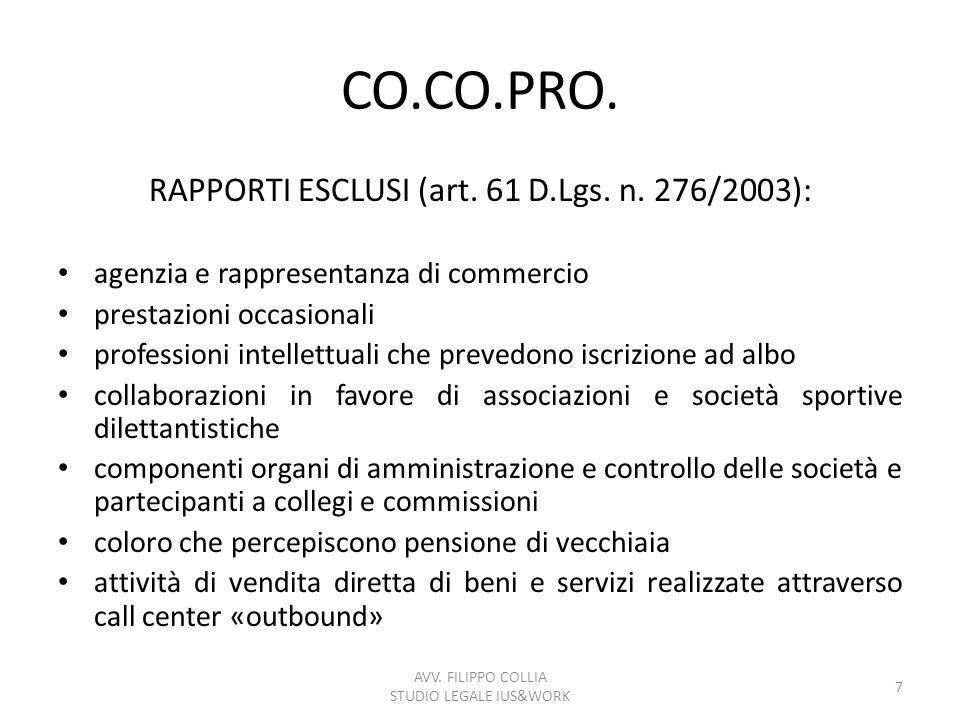 CO.CO.PRO. RAPPORTI ESCLUSI (art. 61 D.Lgs. n. 276/2003): agenzia e rappresentanza di commercio prestazioni occasionali professioni intellettuali che