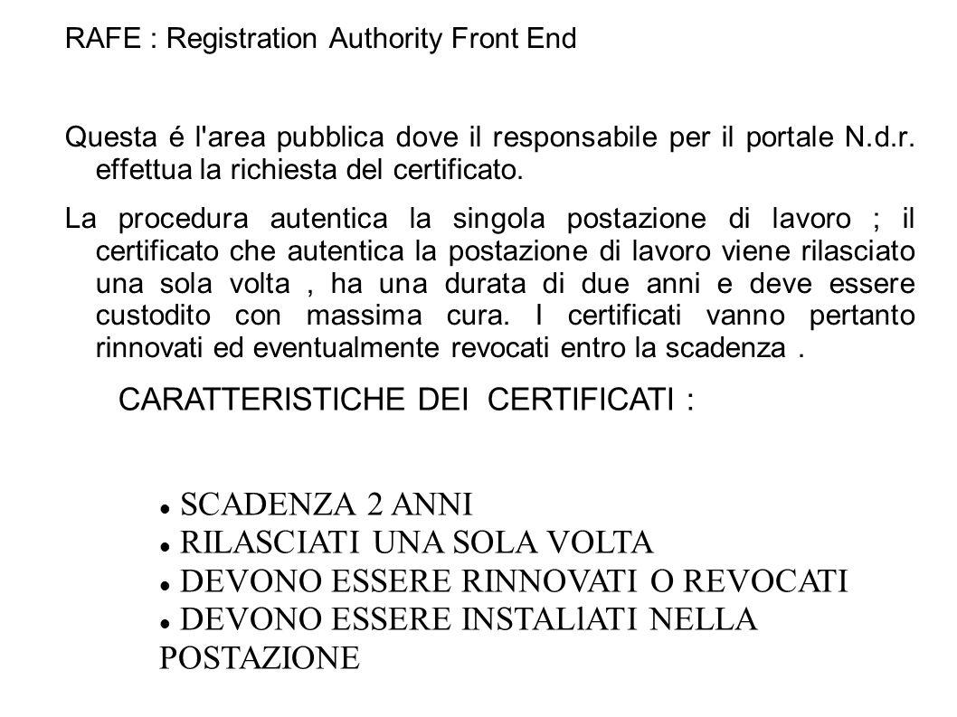 Fase 1 : Registrazione in RAFE RAFE : Registration Authority Front End Questa é l area pubblica dove il responsabile per il portale N.d.r.