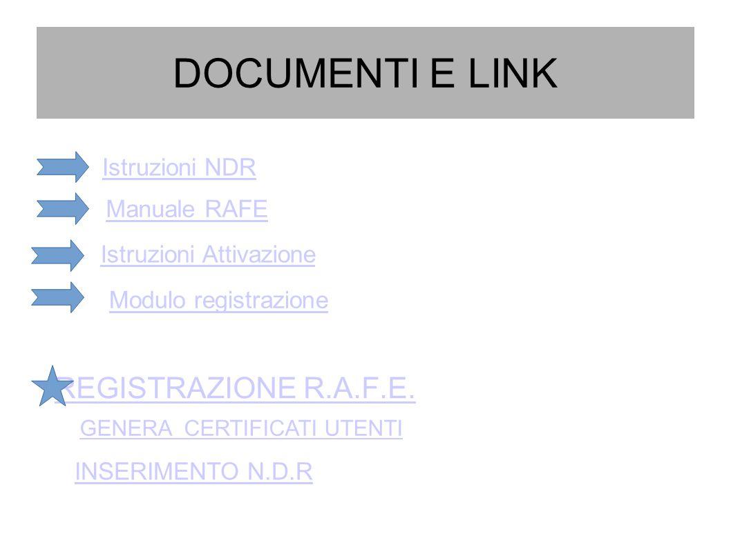 DOCUMENTI E LINK REGISTRAZIONE R.A.F.E.