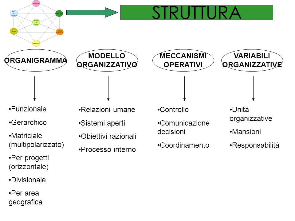STRUTTURA ORGANIGRAMMA MODELLO ORGANIZZATIVO MECCANISMI OPERATIVI VARIABILI ORGANIZZATIVE Funzionale Gerarchico Matriciale (multipolarizzato) Per prog