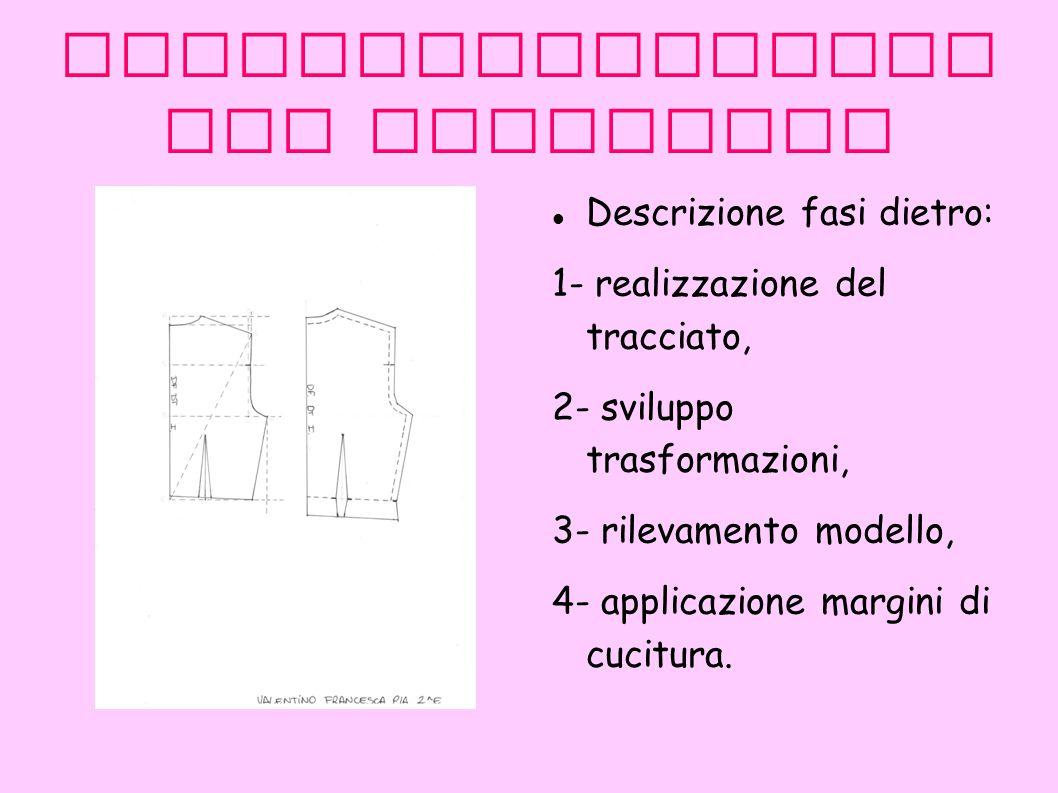 Industrializzazi one tracciato Descrizione fasi dietro: 1- realizzazione del tracciato, 2- sviluppo trasformazioni, 3- rilevamento modello, 4- applicazione margini di cucitura.