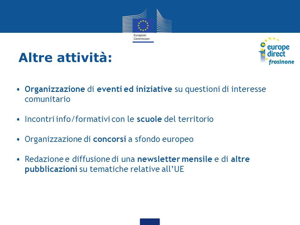 Altre attività: Organizzazione di eventi ed iniziative su questioni di interesse comunitario Incontri info/formativi con le scuole del territorio Organizzazione di concorsi a sfondo europeo Redazione e diffusione di una newsletter mensile e di altre pubblicazioni su tematiche relative all'UE