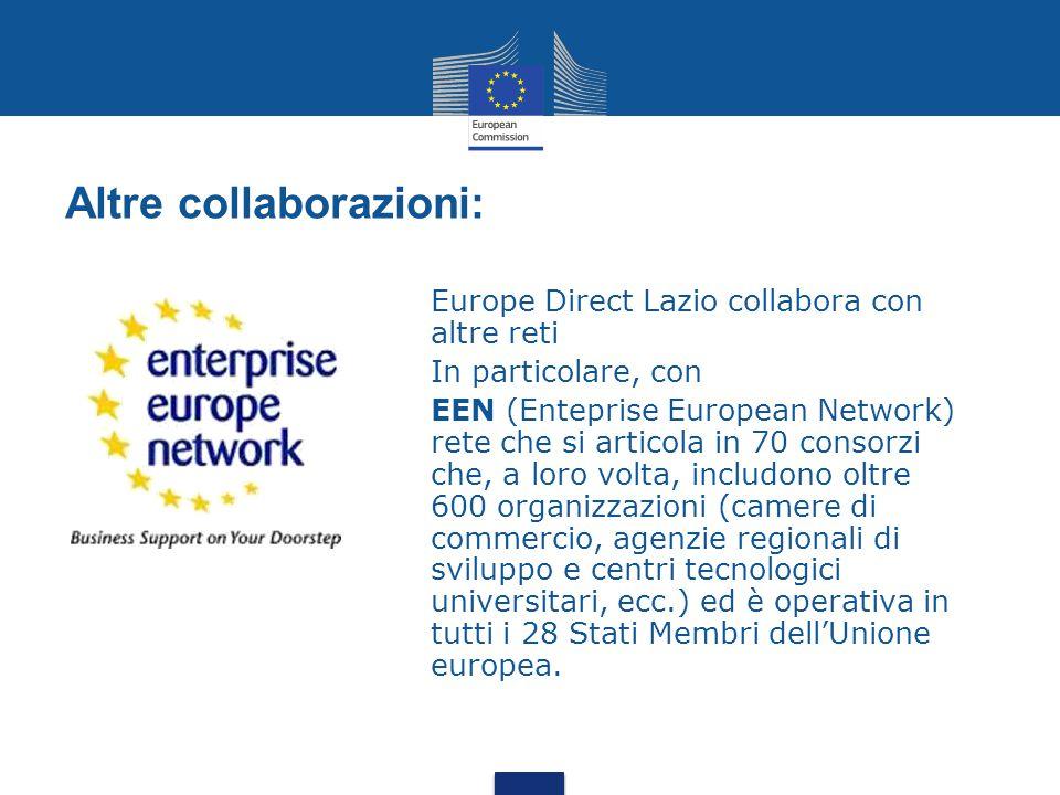 Altre collaborazioni: Europe Direct Lazio collabora con altre reti In particolare, con EEN (Enteprise European Network) rete che si articola in 70 consorzi che, a loro volta, includono oltre 600 organizzazioni (camere di commercio, agenzie regionali di sviluppo e centri tecnologici universitari, ecc.) ed è operativa in tutti i 28 Stati Membri dell'Unione europea.