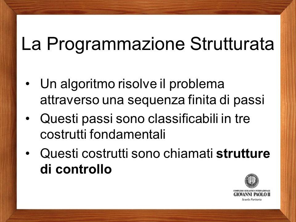 La Programmazione Strutturata Un algoritmo risolve il problema attraverso una sequenza finita di passi Questi passi sono classificabili in tre costrut