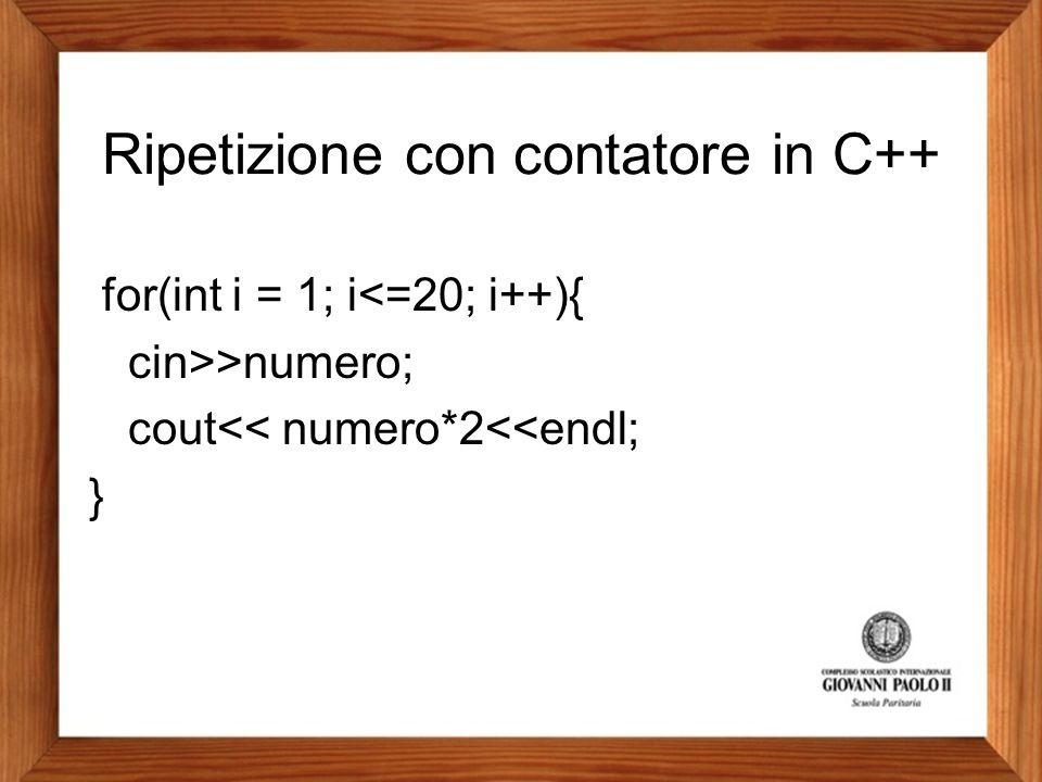 Ripetizione con contatore in C++ for(int i = 1; i<=20; i++){ cin>>numero; cout<< numero*2<<endl; }