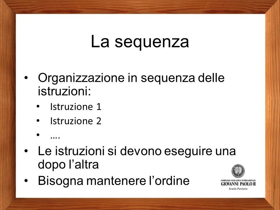 La sequenza Organizzazione in sequenza delle istruzioni: Istruzione 1 Istruzione 2 …. Le istruzioni si devono eseguire una dopo l'altra Bisogna manten