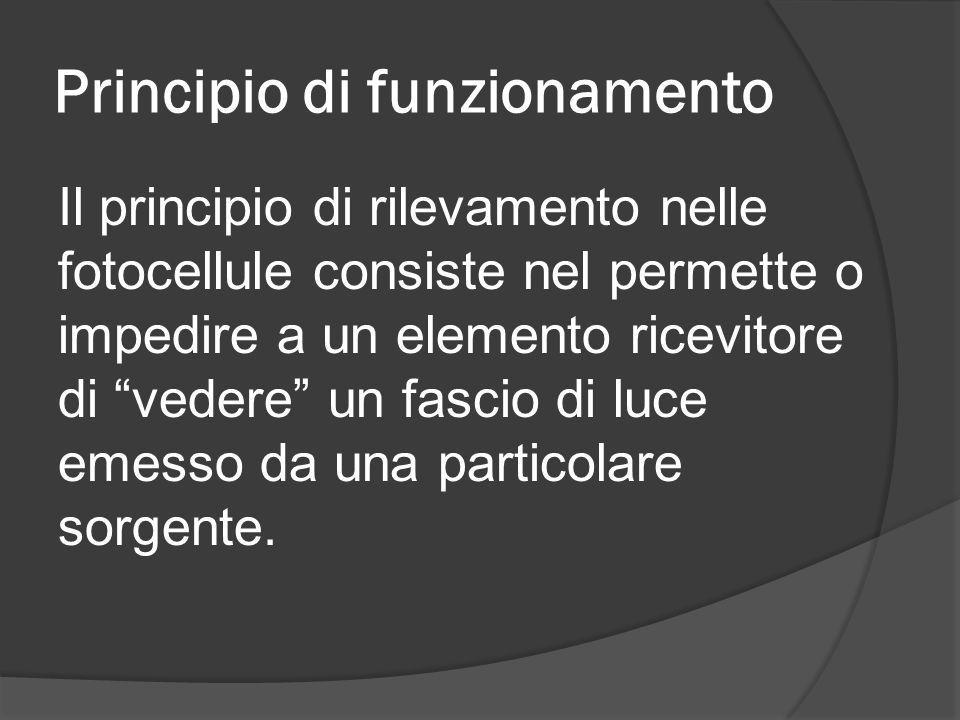 """Principio di funzionamento Il principio di rilevamento nelle fotocellule consiste nel permette o impedire a un elemento ricevitore di """"vedere"""" un fasc"""