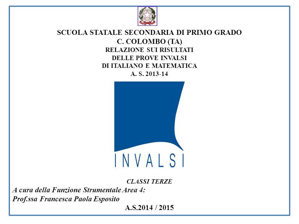 SCUOLA STATALE SECONDARIA DI PRIMO GRADO C. COLOMBO (TA) RELAZIONE SUI RISULTATI DELLE PROVE INVALSI DI ITALIANO E MATEMATICA A. S. 2013-14 CLASSI TER