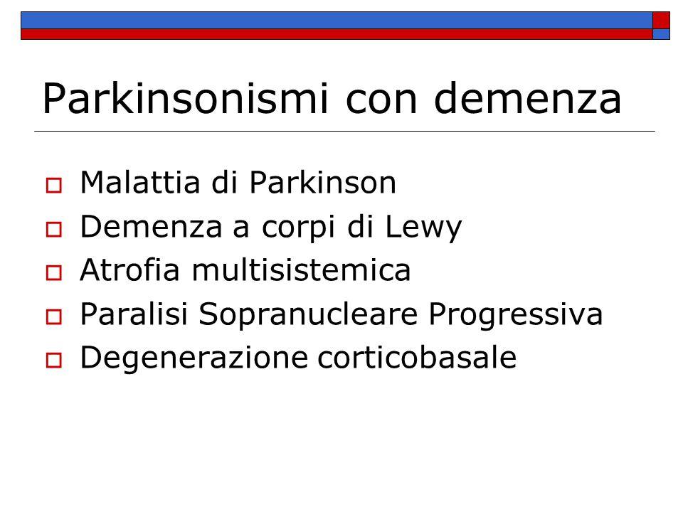 Epidemiologia della demenza nella malattia di Parkinson  Prevalenza puntuale della demenza nella malattia di Parkinson pari al 31.3% (Aarsland D.