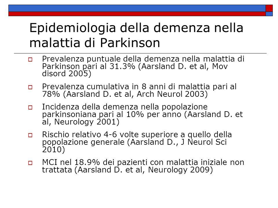 Fattori di rischio per lo sviluppo di demenza  Età avanzata  Gravità dei sintomi motori  PIGD = postural instability and gait difficulty  Allucinazioni visive  Mild cognitive impairment Aarsland D, J Neurol Sci 2010