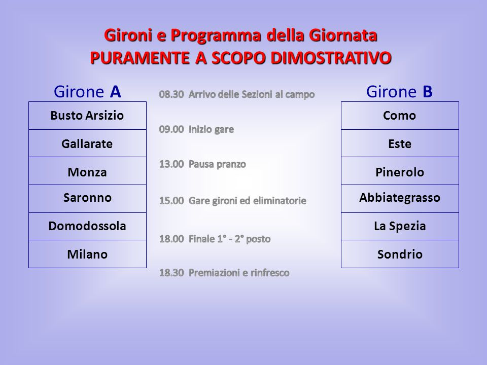 Busto Arsizio Girone AGirone B AbbiategrassoSaronno Pinerolo Domodossola Como Monza Sondrio Gallarate La Spezia Milano Este Gironi e Programma della G