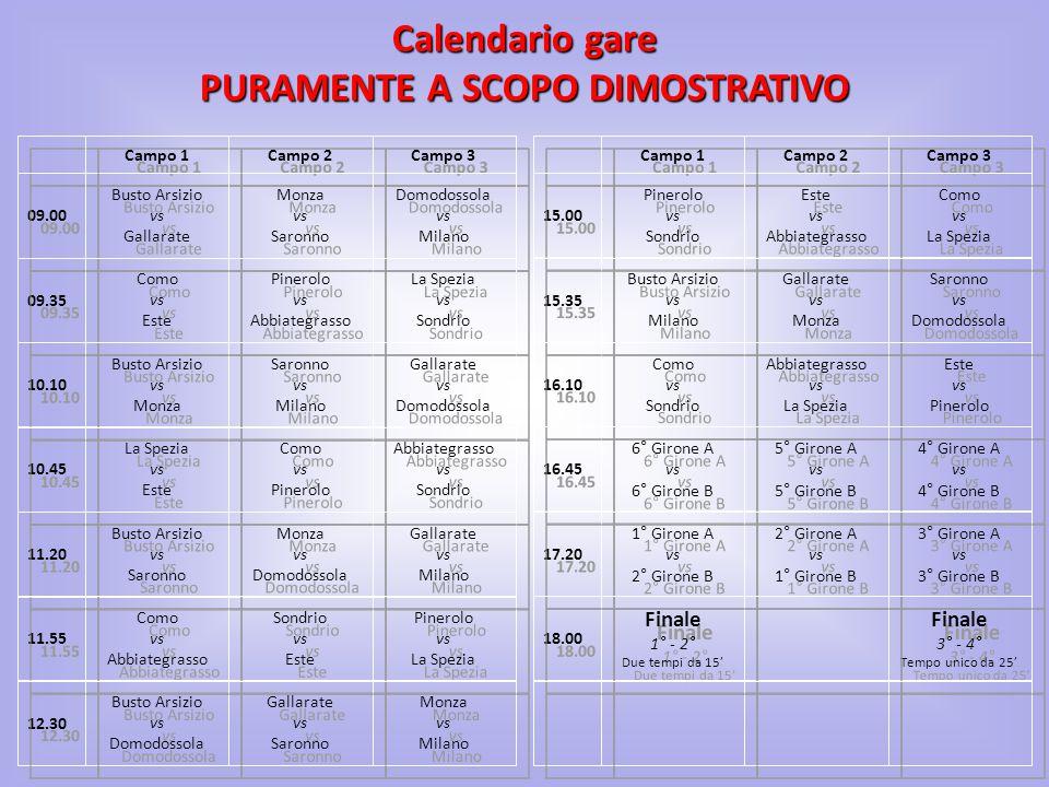 Calendario gare PURAMENTE A SCOPO DIMOSTRATIVO Monza vs Milano Monza vs Milano Gallarate vs Saronno Gallarate vs Saronno Busto Arsizio vs Domodossola