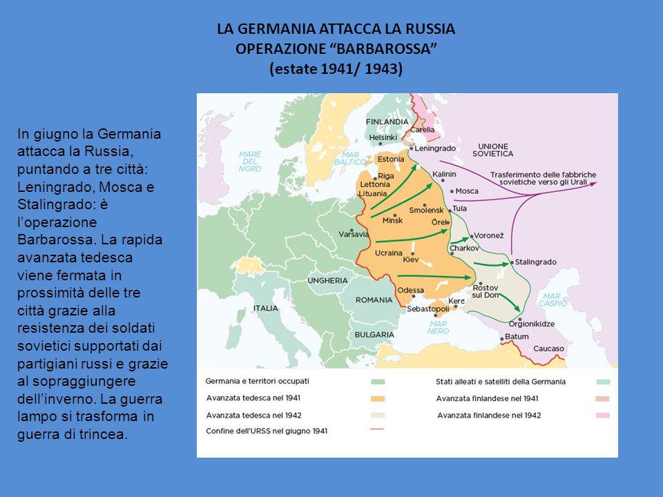 """LA GERMANIA ATTACCA LA RUSSIA OPERAZIONE """"BARBAROSSA"""" (estate 1941/ 1943) In giugno la Germania attacca la Russia, puntando a tre città: Leningrado, M"""