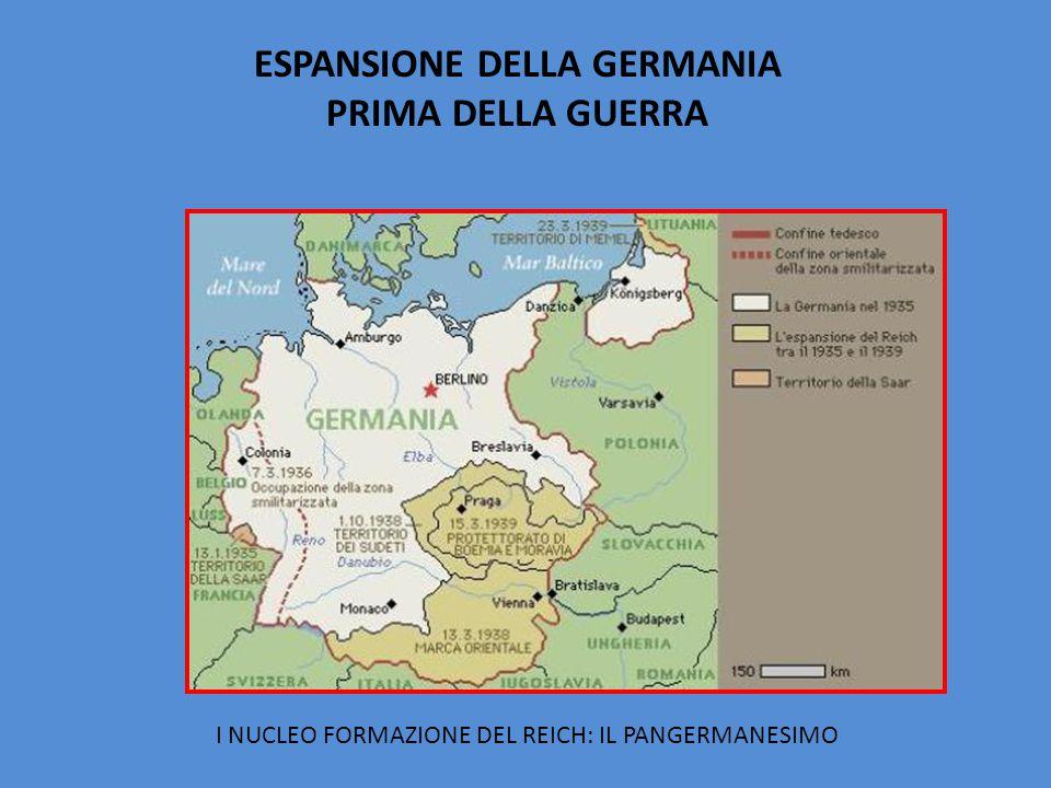 ESPANSIONE DELLA GERMANIA PRIMA DELLA GUERRA I NUCLEO FORMAZIONE DEL REICH: IL PANGERMANESIMO