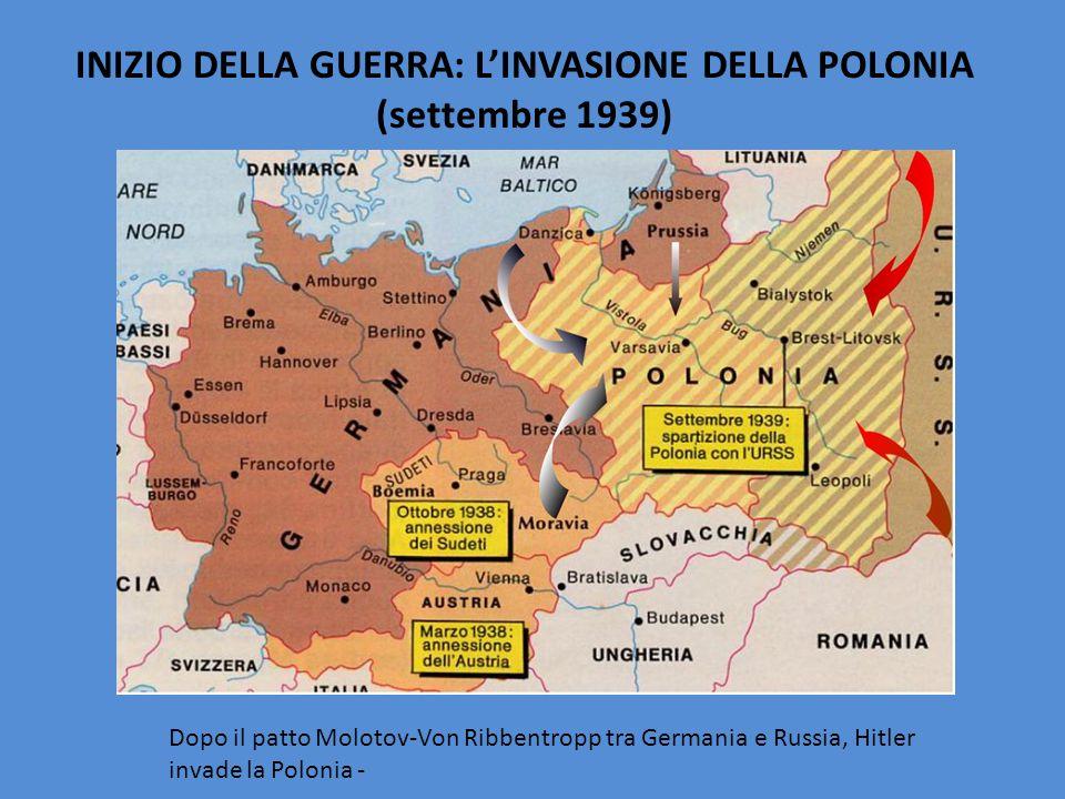 INIZIO DELLA GUERRA: L'INVASIONE DELLA POLONIA (settembre 1939) Dopo il patto Molotov-Von Ribbentropp tra Germania e Russia, Hitler invade la Polonia