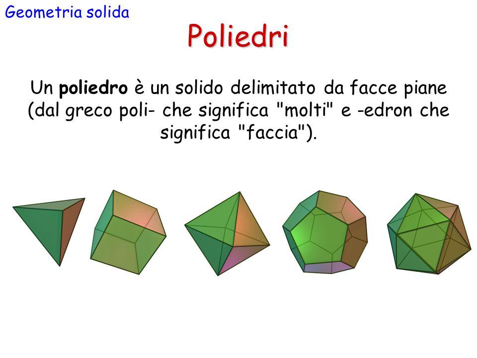 Poliedri Geometria solida Un poliedro è un solido delimitato da facce piane (dal greco poli- che significa molti e -edron che significa faccia ).
